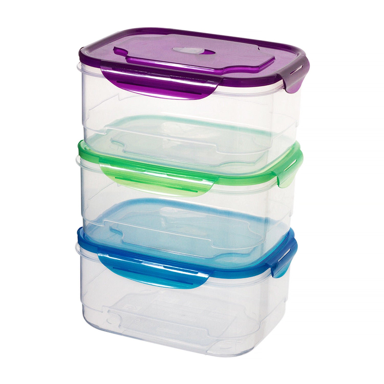 3 Pack Clip Lock Plastic Rectangle Storage Box - Airtight Large Food Containers