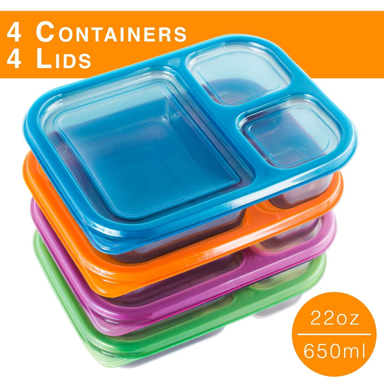 8 Pc Meal Containers Adult Lunch Boxes - 3 Compartment Lunch Containers (Multi Color Lids) - Microwave Safe Containers