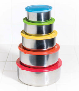 10 Pcs Stainless Steel Mixing Bowls or Food Storage Containers Set with Colored Lids
