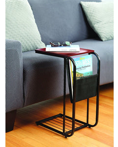 Sliding Snack Laptop Writing Metal Sofa Side Table With Fabric Magazine Holder