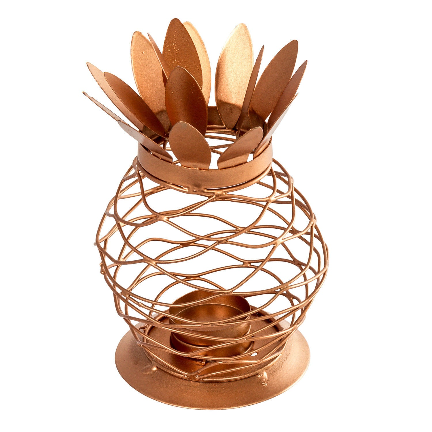 Metal Copper Finish Pineapple Lantern Tealight Candle Holder