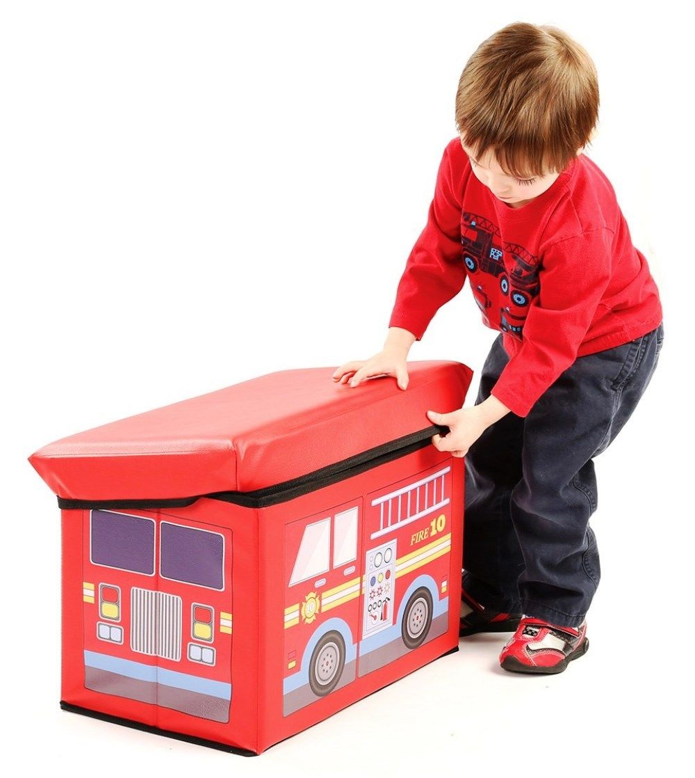 Fire Truck Toy Chest Bench – Children's Ottoman With Storage – Soft Toy Storage
