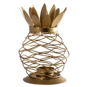 Metal Pineapple Lantern Tea Light Candle Holder Set - Set of 3