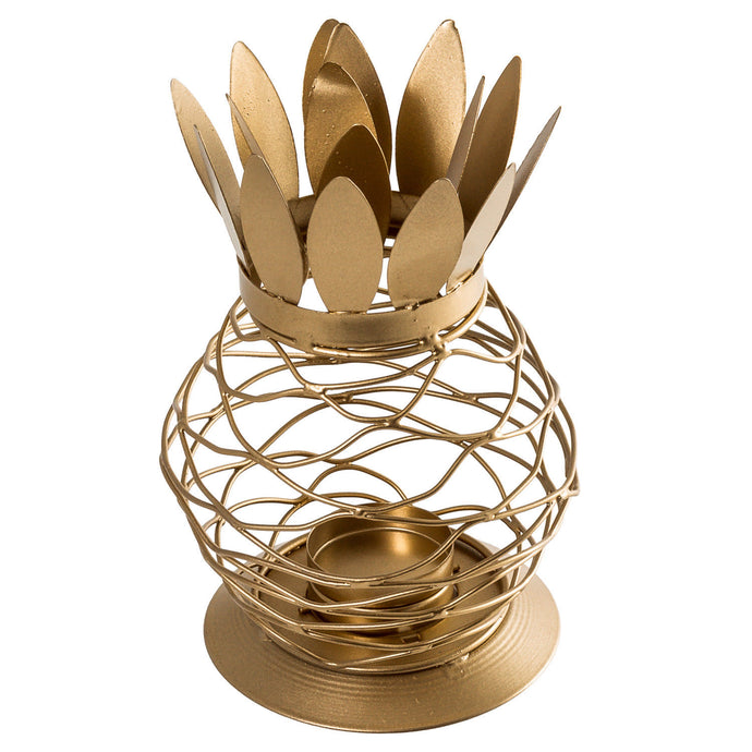 Metal Gold Finish Pineapple Lantern Tealight Candle Holder