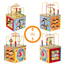 Load image into Gallery viewer, Wooden Multi Function 5 in 1 Kids Learning Game Center Wood Baby Activity Center