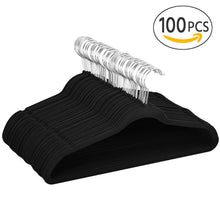 Load image into Gallery viewer, 100 Pack Non Slip Velvet Hangers Heavy Duty Hangers Black - Bonus 5 Free Hanger
