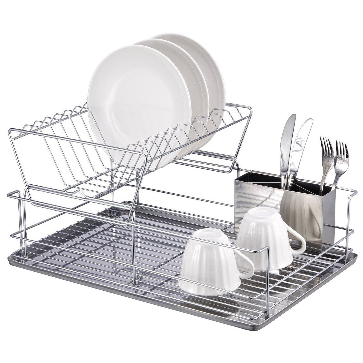High Quality Chrome Dish Drainer 4 Piece Rack Dish Holder / Rack