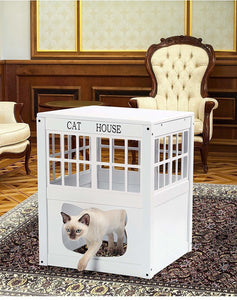 White Wooden Cat House - Wood Kitty Indoor Outdoor House