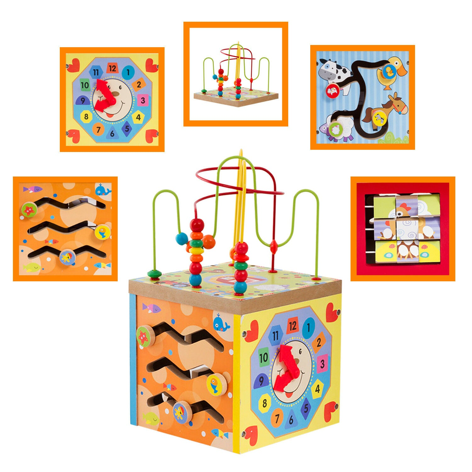 Wooden Multi Function 5 in 1 Kids Learning Game Center Wood Baby Activity Center