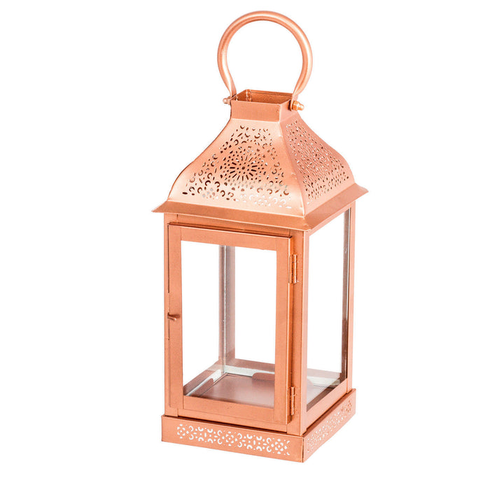 Metal Copper Finish Lantern Candle Holder - Pillar Candle Holder