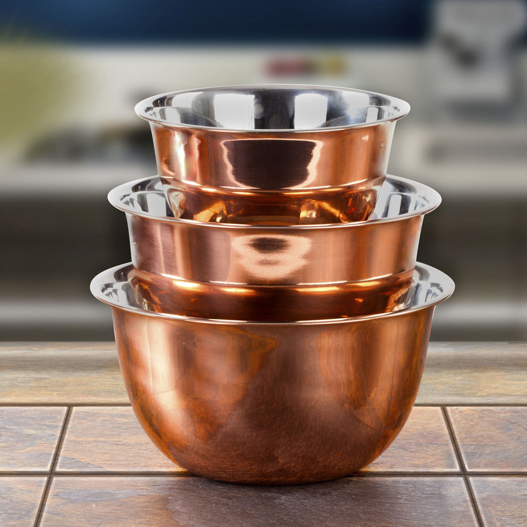 High Quality Stainless Steel Copper Mixing Bowl - 3 Piece Nesting Bowls Set