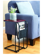 Load image into Gallery viewer, Sliding Snack Laptop Writing Metal Sofa Side Table With Fabric Magazine Holder