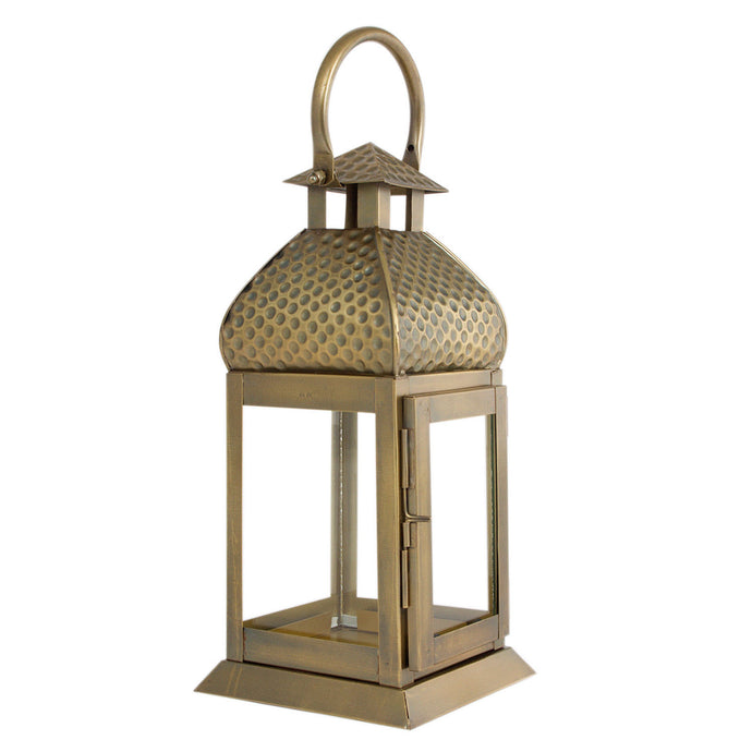 Metal Brass Finish Moroccan Lantern Candle Holder - Pillar Candle Holder