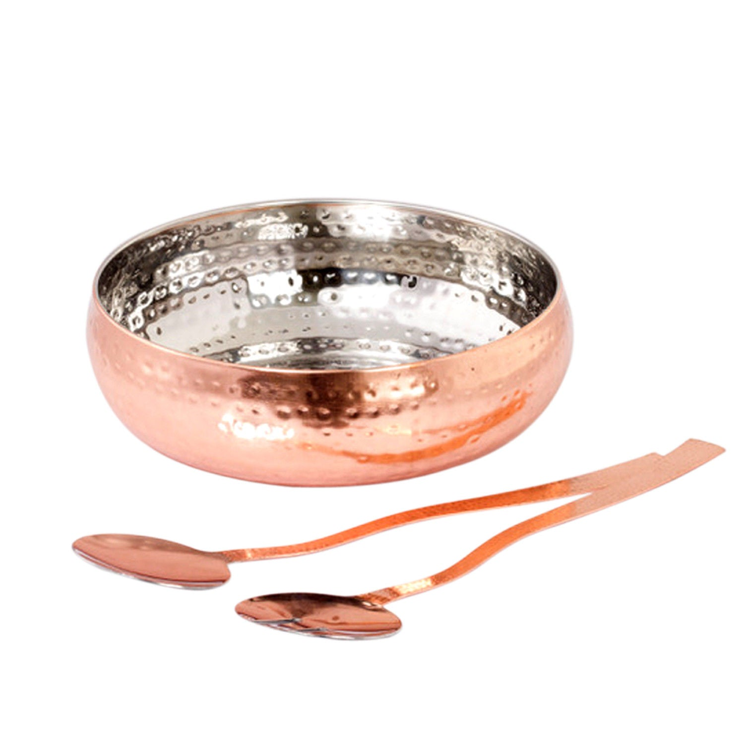 Copper Hammered Stainless Steel Salad Bowl With Serving Spoon Set