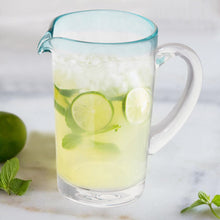 Load image into Gallery viewer, Mexican Glass 37 Oz. Pitcher - Margarita Pitcher Blue Rim Water Lemonade Pitcher