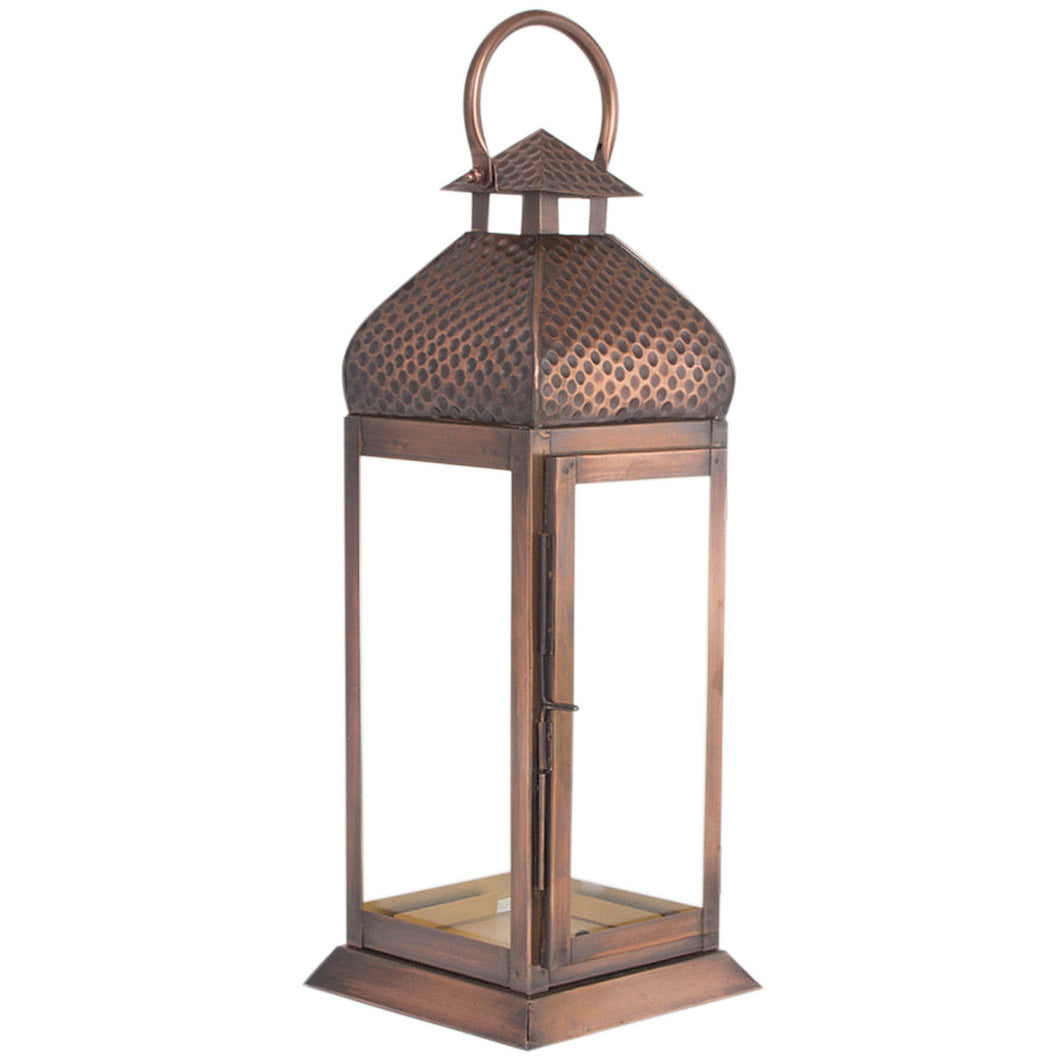 Metal Antique Copper Finish Large Lantern Candle Holder - Pillar Candle Holder