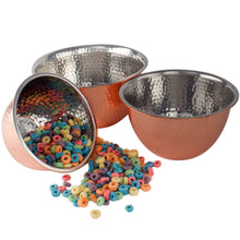 Load image into Gallery viewer, High Quality Stainless Steel Copper Hammered Mixing Bowl 3 Piece Bowls Set