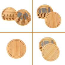 Load image into Gallery viewer, Natural Wood Gourmet Cheese Board Set - Wood Cheese Board & 4 Knife Set