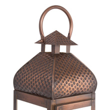 Load image into Gallery viewer, Metal Antique Copper Finish Large Lantern Candle Holder - Pillar Candle Holder