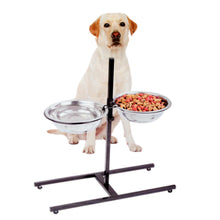 Load image into Gallery viewer, Adjustable Metal Pet Dog Feeder Bowls Elevated Stainless Steel Double Bowl Dish