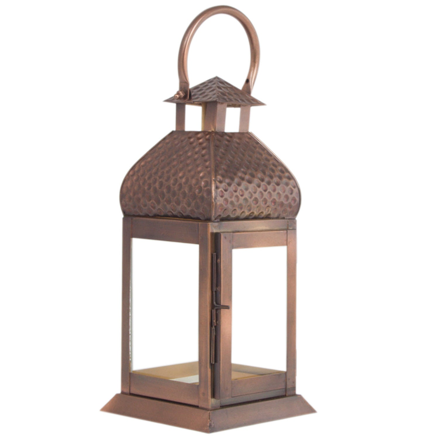 Metal Copper Finish Lantern Candle Holder Set - Pillar Candle Holder Set of 2