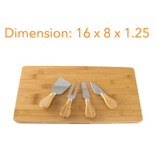 "Load image into Gallery viewer, Bamboo Rectangle 16"" X 8"" Cheese Board & Cutlery Set With Slide Out Drawer"