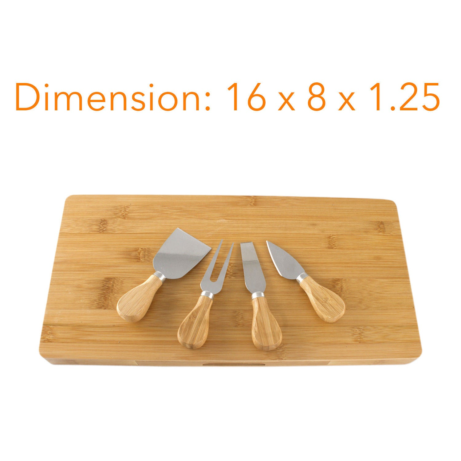"Bamboo Rectangle 16"" X 8"" Cheese Board & Cutlery Set With Slide Out Drawer"