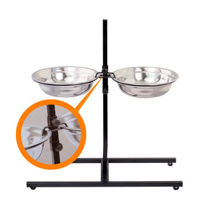 Adjustable Metal Pet Dog Feeder Bowls Elevated Stainless Steel Double Bowl Dish