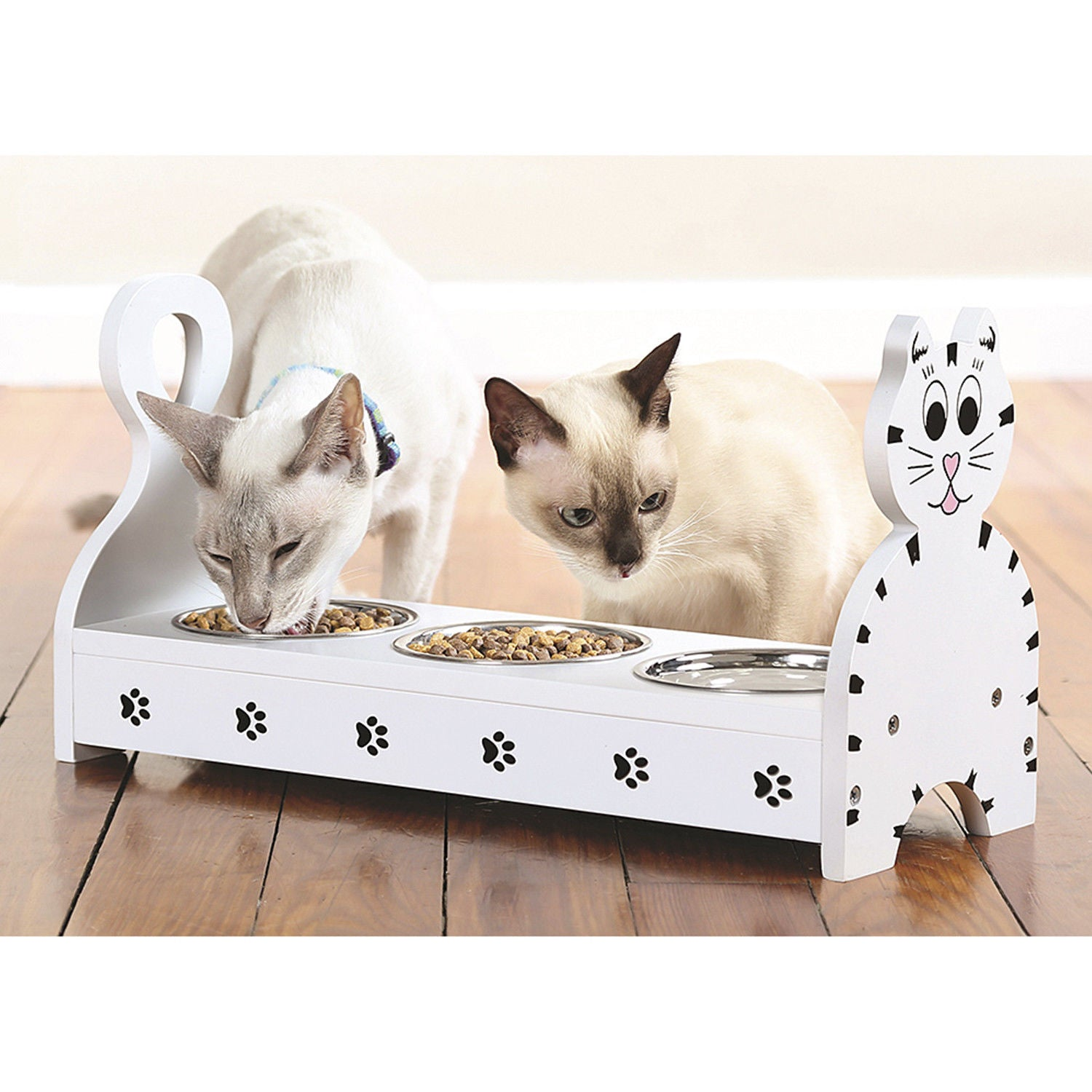 Wood Multiple Cats Pets Feeder Cat Feeding Station Cat Food Bowls Dishes W Stand