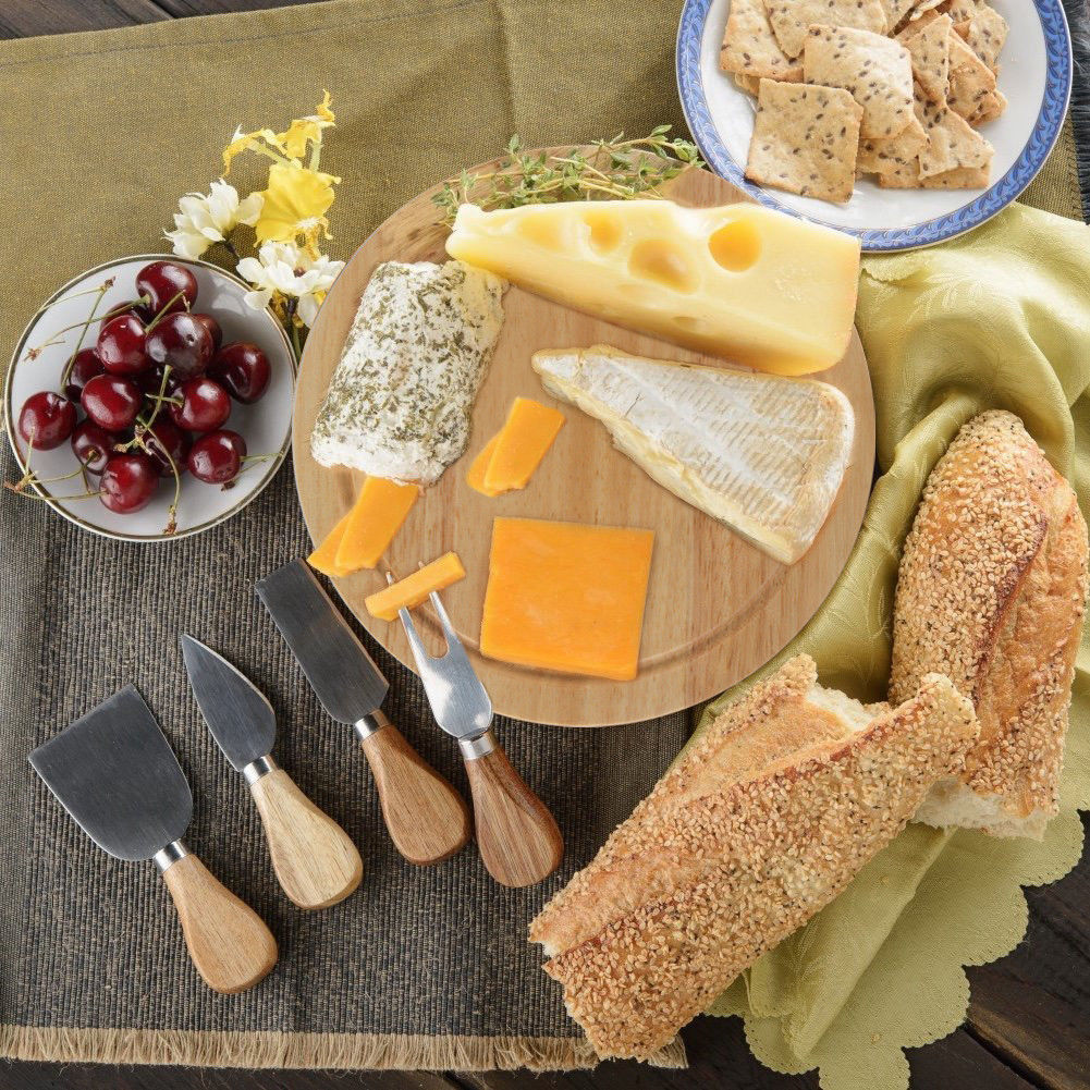 Natural Wood Gourmet Cheese Board Set - Wood Cheese Board & 4 Knife Set