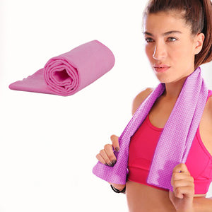 Pink Cooling Towel - Reusable Instant Cool Gym, Running, Outdoor or Beach Towel