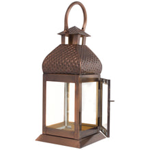 Load image into Gallery viewer, Metal Antique Copper Finish Lantern Candle Holder - Pillar Candle Holder