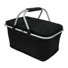 Load image into Gallery viewer, Insulated Folding Picnic Cooler Basket with Handles - Black