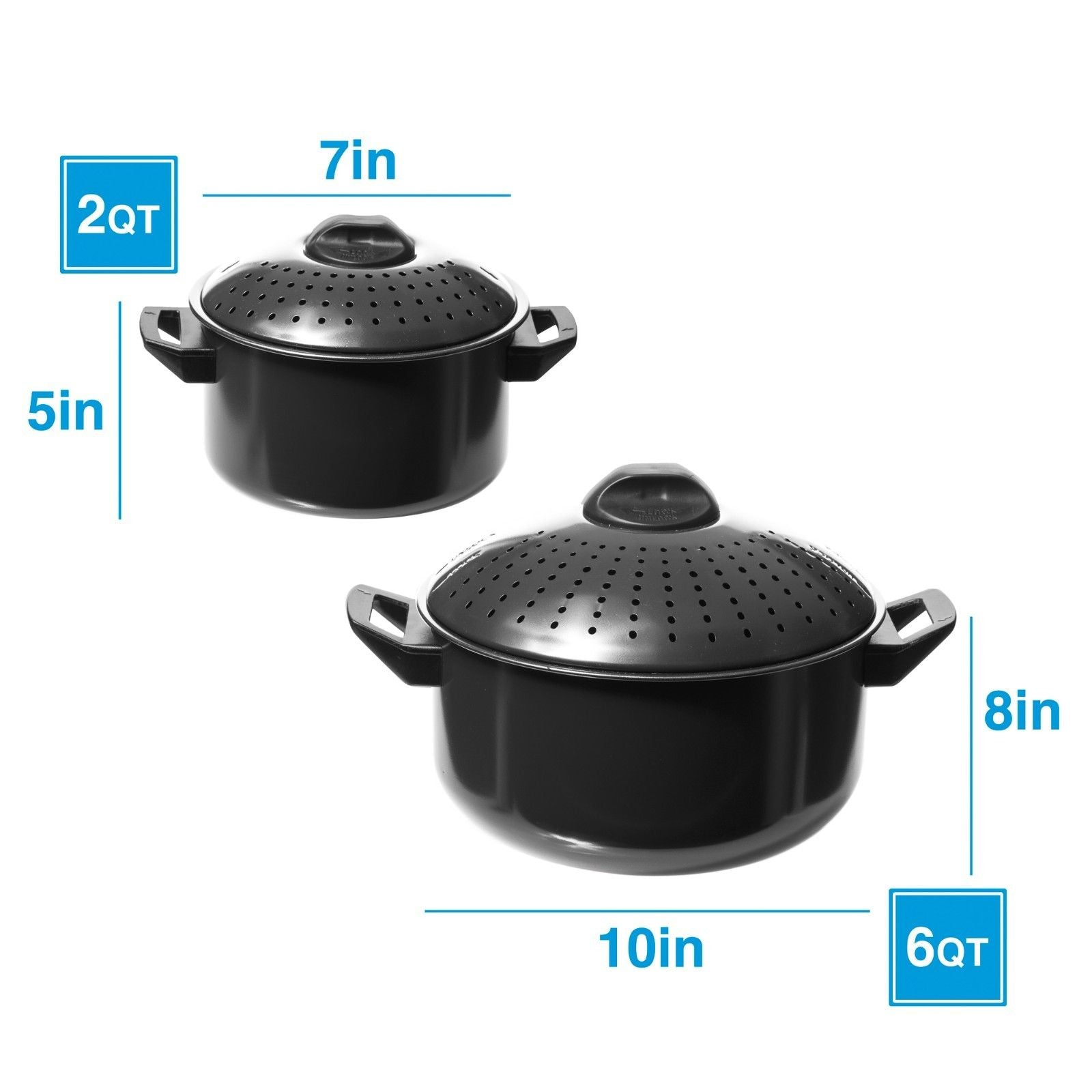 2 Pc Chef Quality Pasta Pot with Strainer Lid - 6 Qt & 2 Qt Black Stock Pot or Pasta Cooker