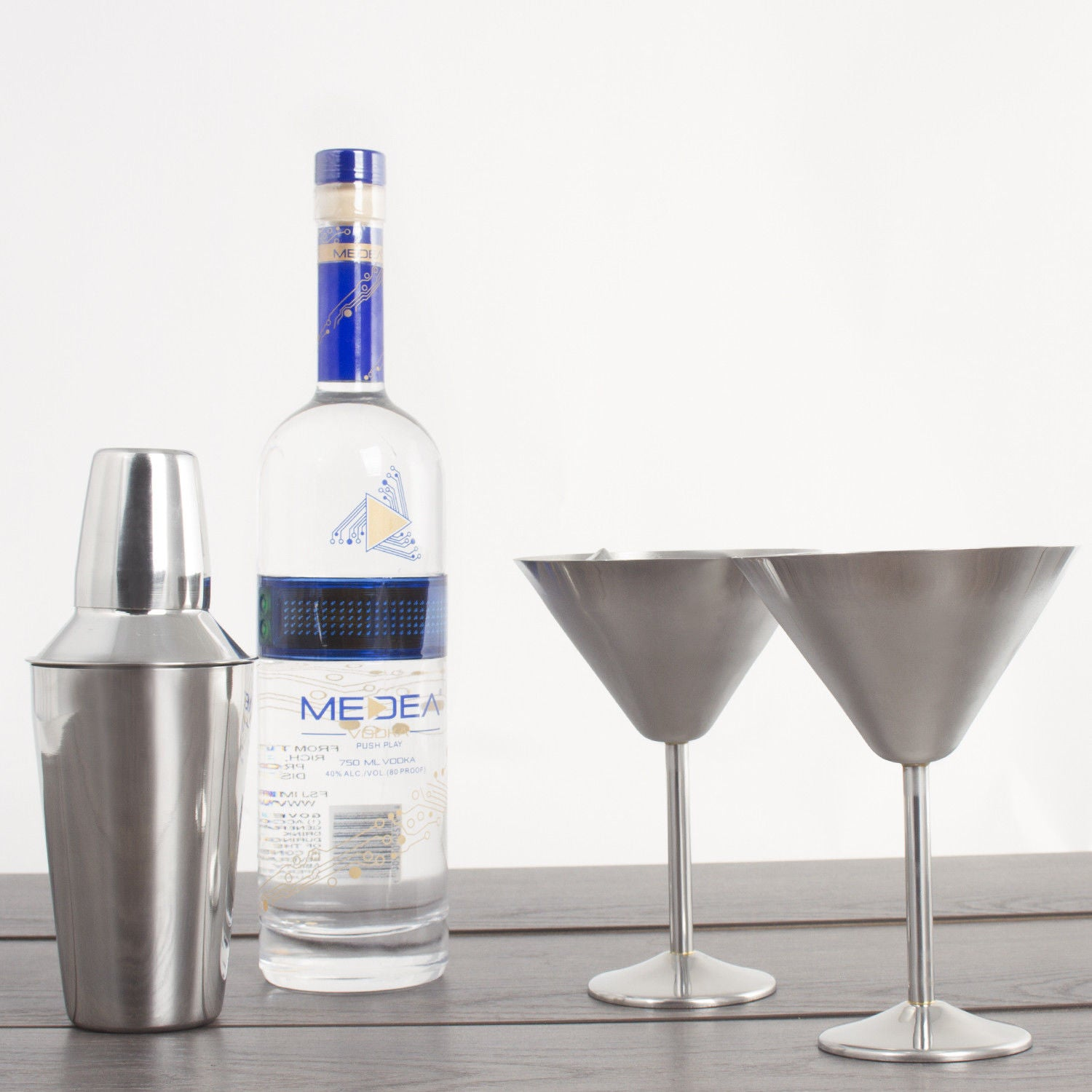 Stainless Steel Martini Gift Set - 2 Large Martini Glasses and Shaker Set