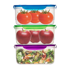 Load image into Gallery viewer, 3 Pack Clip Lock Plastic Rectangle Storage Box - Airtight Large Food Containers