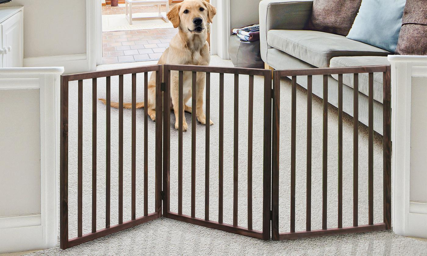 Pinewood Folding Stand Alone Pet Dog Gate - Portable Adjustable Wooden Pet Gate