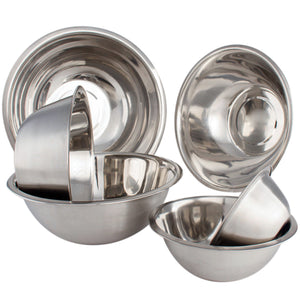 High Quality Large Stainless Steel 6 pcs Mixing Bowl Set - Free Measuring Spoons