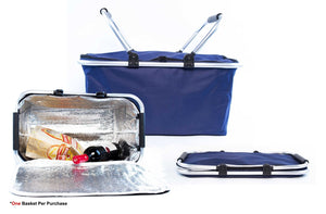 Insulated Folding Picnic Cooler Basket with Handles - Black