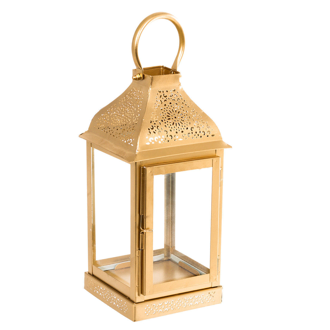 Metal Gold Finish Lantern Candle Holder - Pillar Candle Holder