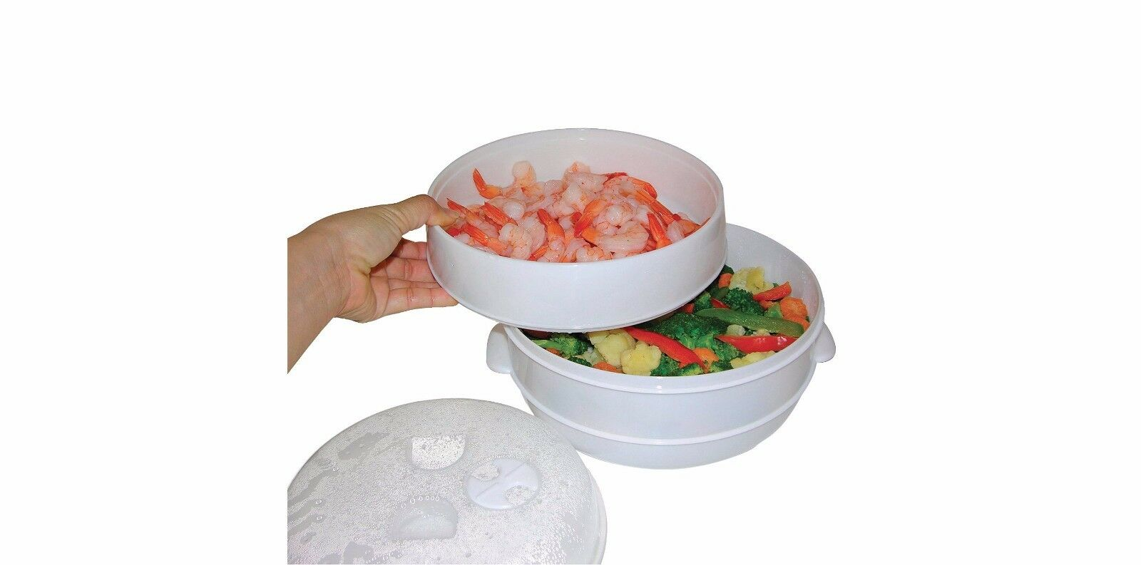 2 Tier Vegetable or Fish Microwave Steamer - Food Steamers Cooker