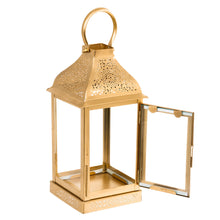Load image into Gallery viewer, Metal Gold Finish Lantern Candle Holder - Pillar Candle Holder