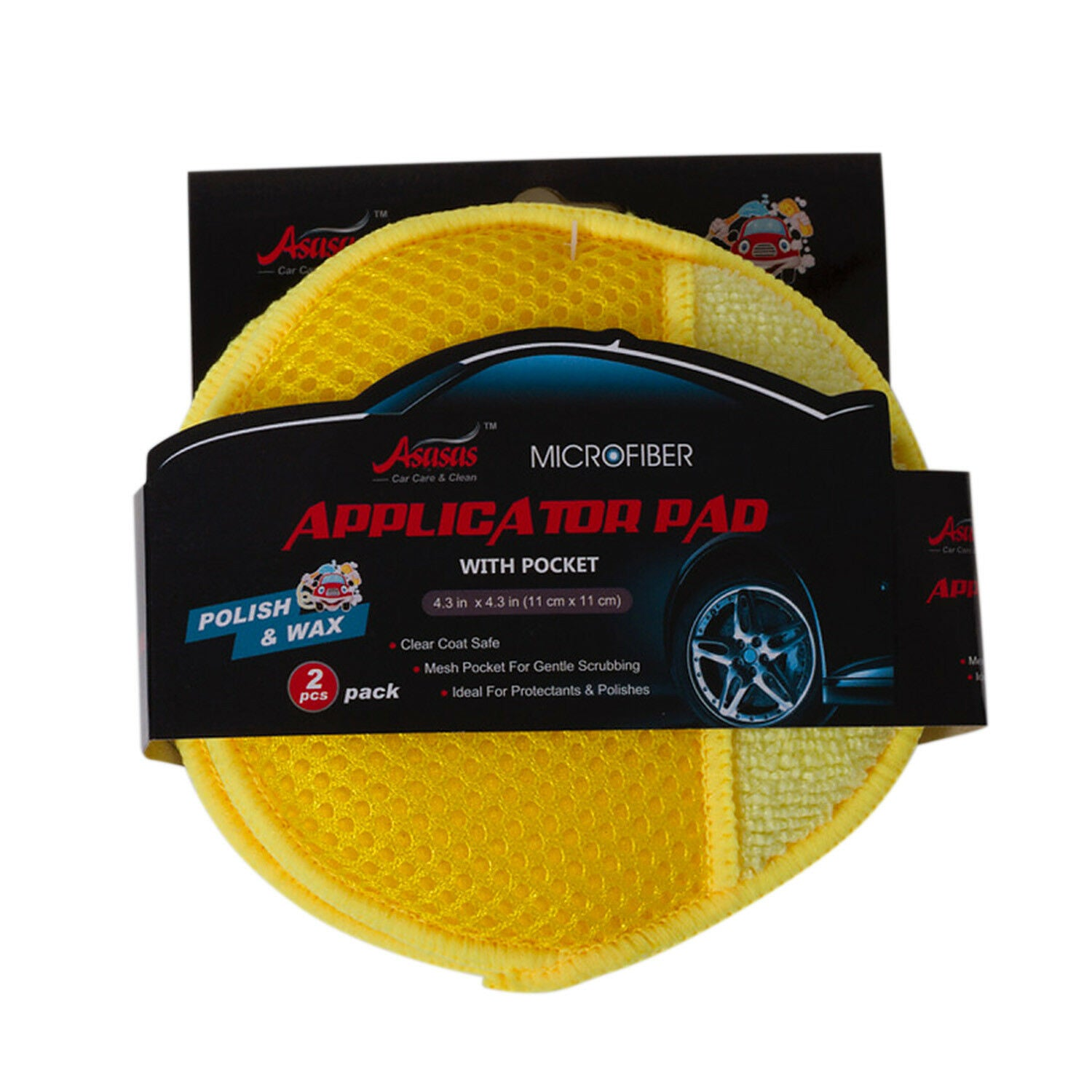 10 Pack Car Care Microfiber Applicator Pads With Pocket For Detailing Cleaning