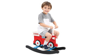 Classic Wooden Fire Truck Rocker - Wood Kid Fireman Rocker