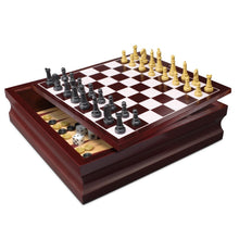 Load image into Gallery viewer, Wooden 10 in 1 Board Family Board Game Set - Chess Checkers Backgammon Solitaire