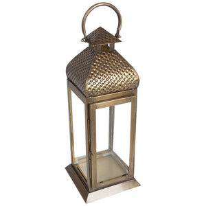 Metal Brass Finish Large Moroccan Lantern Candle Holder - Pillar Candle Holder
