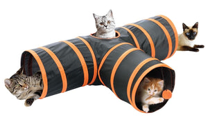 Fun Pet Cat Tunnel – 3 Way Cat Tunnel - Orange Cat Crinkle Tunnel