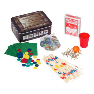 5 in 1 Travel Games Set Old School Tin Box Game Set Poker Marbles Tiddlywinks