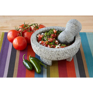 "Imperial Home 8"" Granite Mexican Molcajete Mortar and Pestle Spice Grinder"