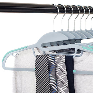 30 Pack Non Slip Wrinkle Free Thin Plastic Clothes Hanger Teal & Grey
